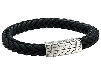 John Hardy Classic Chain 8.5mm Station Bracelet in Black Leather (Silver) Bracelet