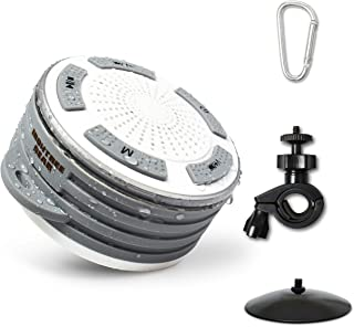 Portable Bluetooth speaker - Waterproof Bluetooth Speaker with HD Sound, IOS & Android Compatible outdoor speaker / shower speaker with suction cup, carabiner, bike mount, FM Radio, Hands-Free Calling