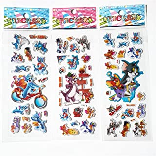 6pcs Tom and Jerry Animals Cats and Mouse sticker Scrapbooking Kawaii Reward Kids Children Toys Bubble Puffy Stickers