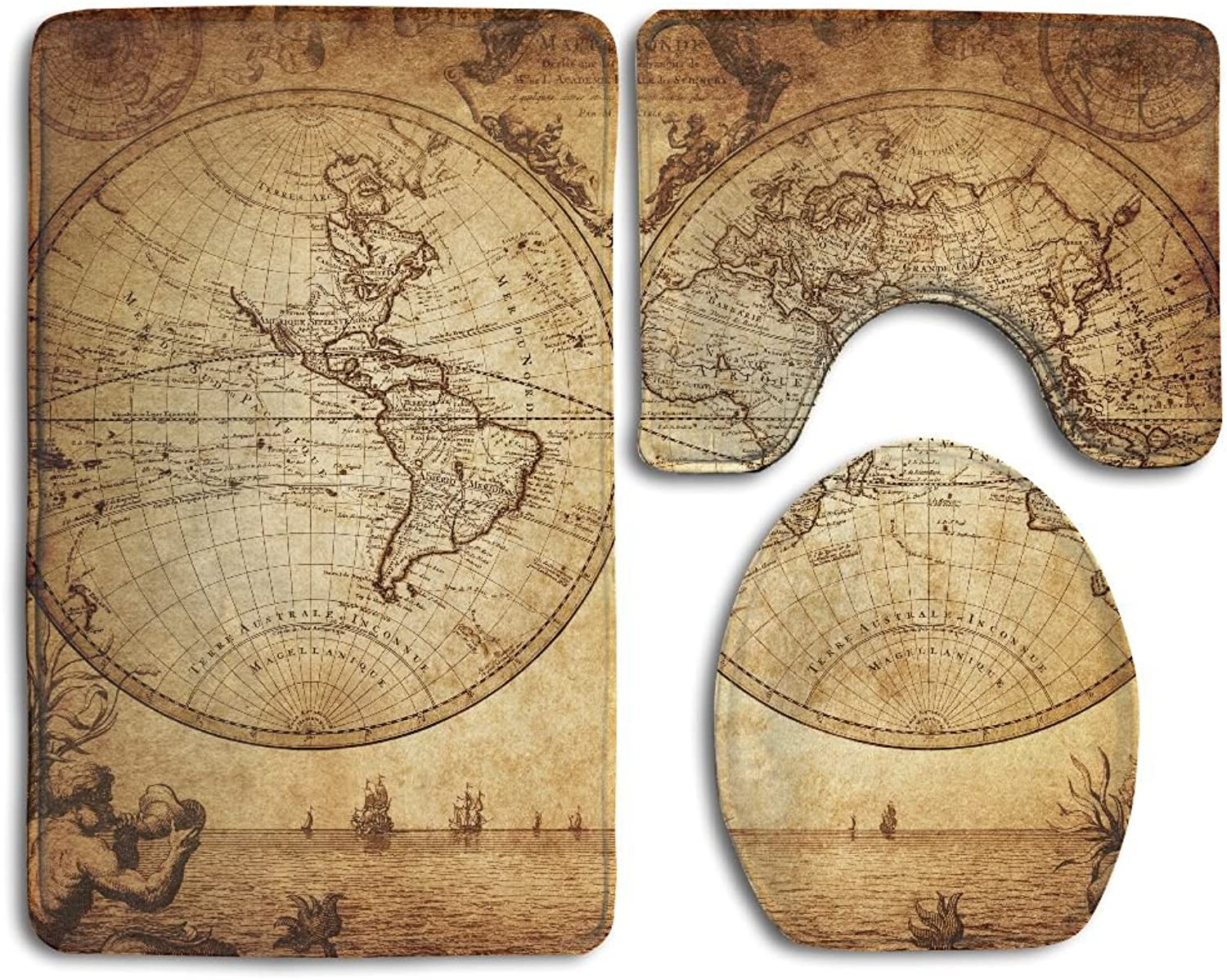 WEEDKEYCAT Retro Old Map Sea Non Slip Large Home Bathroom Rugs Doormats,Soft Toilet Rug U-Shaped Mat,Luxury Round Toilet Lid Cover 3 Pieces Set