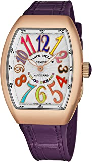 Franck Muller Vanguard Color Dreams Womens 18K Rose Gold Swiss Quartz Watch Tonneau Silver Face with Luminous Hands and Sapphire Crystal Purple Leather/Rubber Strap Ladies Watch V 32 SC at FO COL DRM