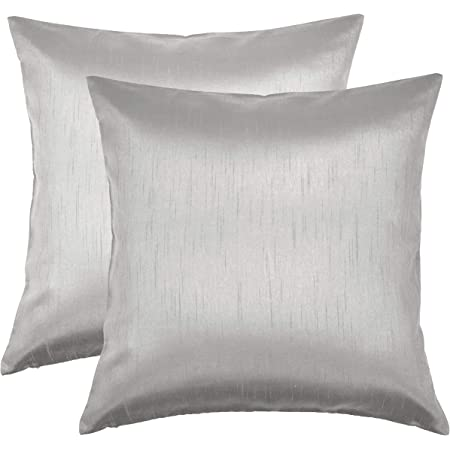 Aiking Home Solid Faux Silk Euro Sham Pillow Cover Zipper Closure 26 By 26 Inches Silver Home Kitchen