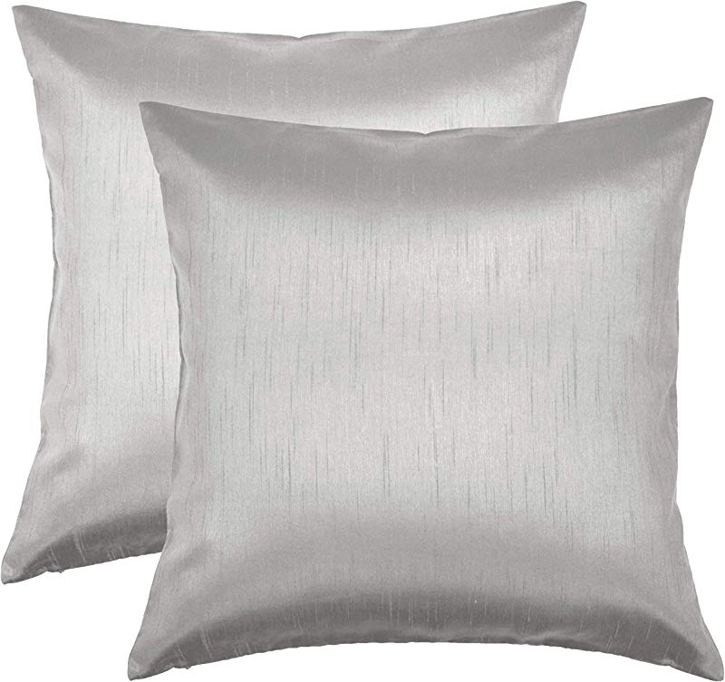 Aiking Home 26x26 Inches Faux Silk Square European Shams Zipper Closure Silver Set Of 2