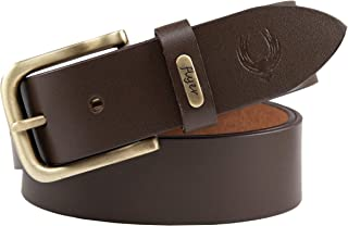 Flyer Men's Leather belt (Formal/Casual) Branded (Colour -Brown) Stylish Buckle Adjustable Size Genuine Quality