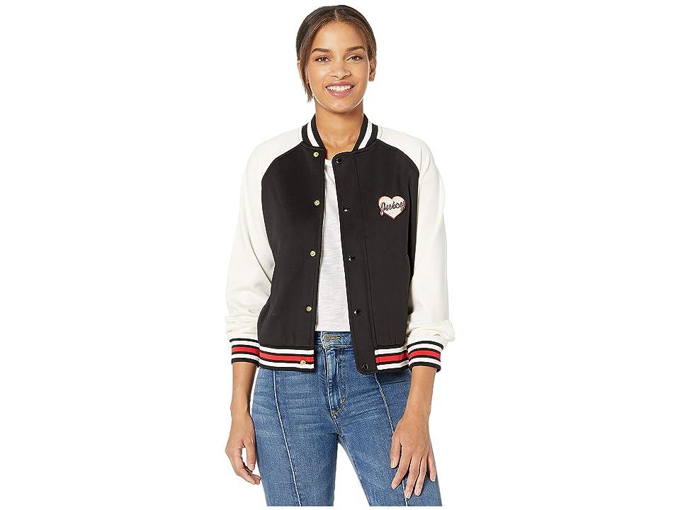 Juicy Couture Juicy Letterman Tricot Track Jacket (Pitch Black) Women's Coat