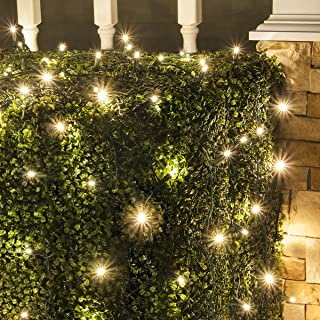 GE 100 LED Energy Smart Random Sparkle Warm White Net Lights 5' x 4' Indoor/Outdoor Holiday Lighting Decoration 20 Sq.Ft (Green Wire)
