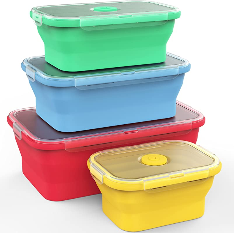Vremi Silicone Food Storage Containers With BPA Free Airtight Plastic Lids Set Of 4 Small And Large Collapsible Meal Prep Container For Kitchen Or Kids Lunch Boxes Microwave And Freezer Safe