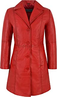Trench Ladies Leather Jacket Brown/Red Classic Knee-Length Designer Lambskin Coat 3457