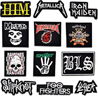 Riao-Tech 12pcs Heavy Metal Rock Band Speed Metal Patch Set Iron on Sew on Patches, Metallica, Iron Maiden, Slayer, Motörhead