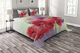 Ambesonne Flower Bedspread, Poppy Flowers Blur Spring Floral Seasonal Romantic Illustration Print, Decorative Quilted 3 Piece Coverlet Set with 2 Pillow Shams, Queen Size, Lavander Red