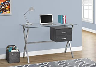 Monarch Specialties Contemporary Style-Metal Legs-Tempered Glass Top Computer Desk with Drawers, 48
