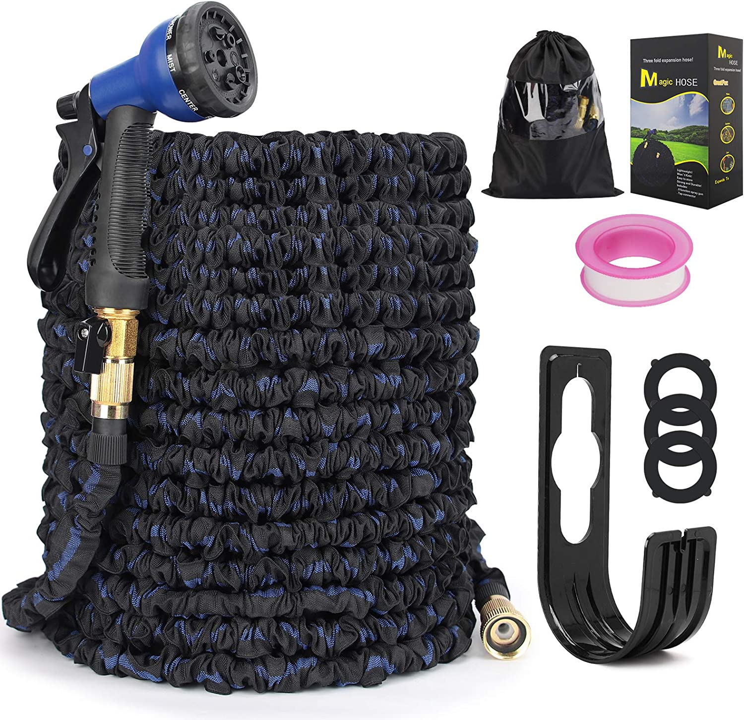 Expandable Garden Hose, Kink Free Garden Hose 50 ft,Latex Core Flexible Anti-Leakage Water Hose with 8 Function Nozzle 、Brass Connector、Pocket, Easy Storage for Outdoor Lawn Car Watering (Black&Blue)