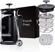 Thiru French Press   Kaffeebereiter mit 4D Filtersystem   Edelstahl & Glas (1L ohne..