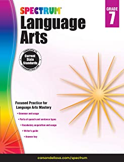 Carson Dellosa – Spectrum Language Arts, Focused Practice for Language Arts Mastery for 7th Grade, 160 Pages, Ages 12–13 with Answer Key