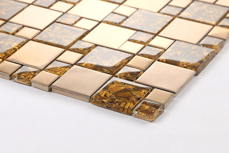 MT0087 Glas und geb/ürstetem Edelstahl Mosaik Fliesen Matte in Gold Die St/ärke betr/ägt 8mm f/ür W/ände
