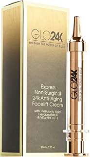 GLO24K Instant Facelift Cream with 24k Gold, Hyaluronic Acid, Peptides, and Vitamins, A,C,E. A powerful non-invasive alternative to injections.
