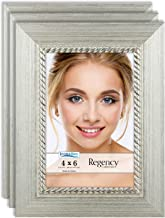 Icona Bay 4x6 Picture Frame (3 Pack, Silver), Silver Photo Frame 4 x 6, Wall Mount or Table Top, Set of 3 Regency Collection…