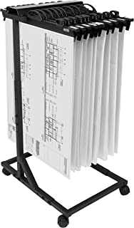 Hang-A-Plan, Mobile Blueprint Storage Rack, Height Adjustable, Capacity for 2250 plans on 15 Clamps 18