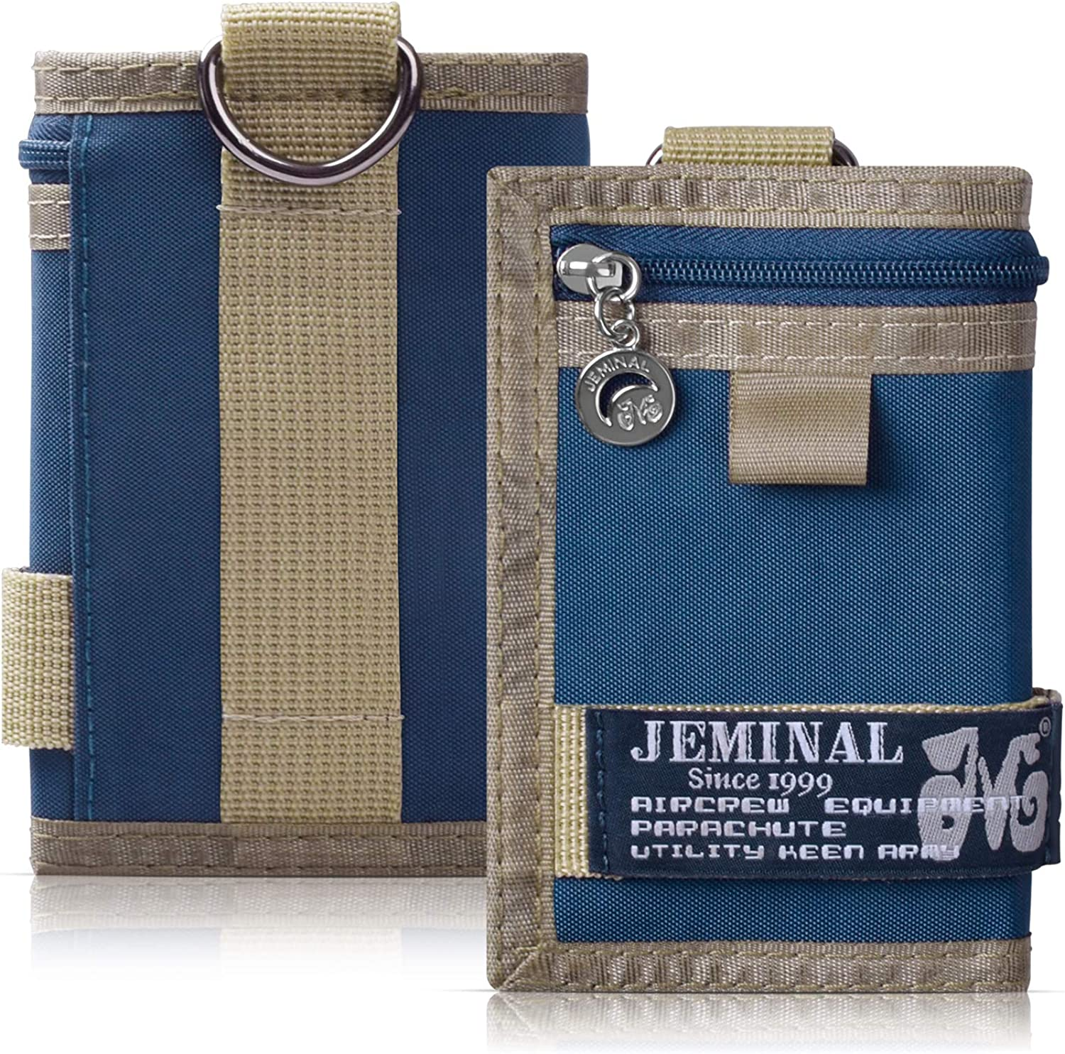 JEMINAL Trifold Canvas Outdoor Sports Wallet for Boys - Keychain Wallet for Women and Mens