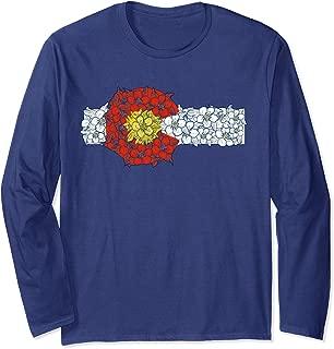 Retro Colorado Flag Columbine Flower Artistic Nature Design  Long Sleeve T-Shirt