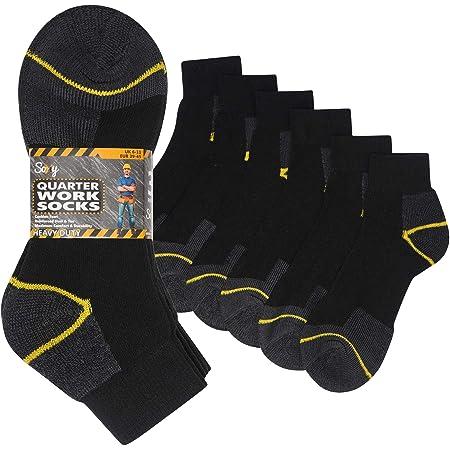 12 Pairs Mens Heavy Duty Quarter Length Work Socks Shoe Size 6-11 Safety/Steel Toe Boot Socks