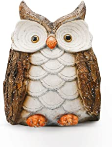 ARTICTERN Funny Garden Owl Dad Sculptures and Statues, for Outdoor Patio Yard and Indoor Home Decor, 14 inches Large, Resin Figurines - Unique Light Up Outdoor Ornaments and Gifts