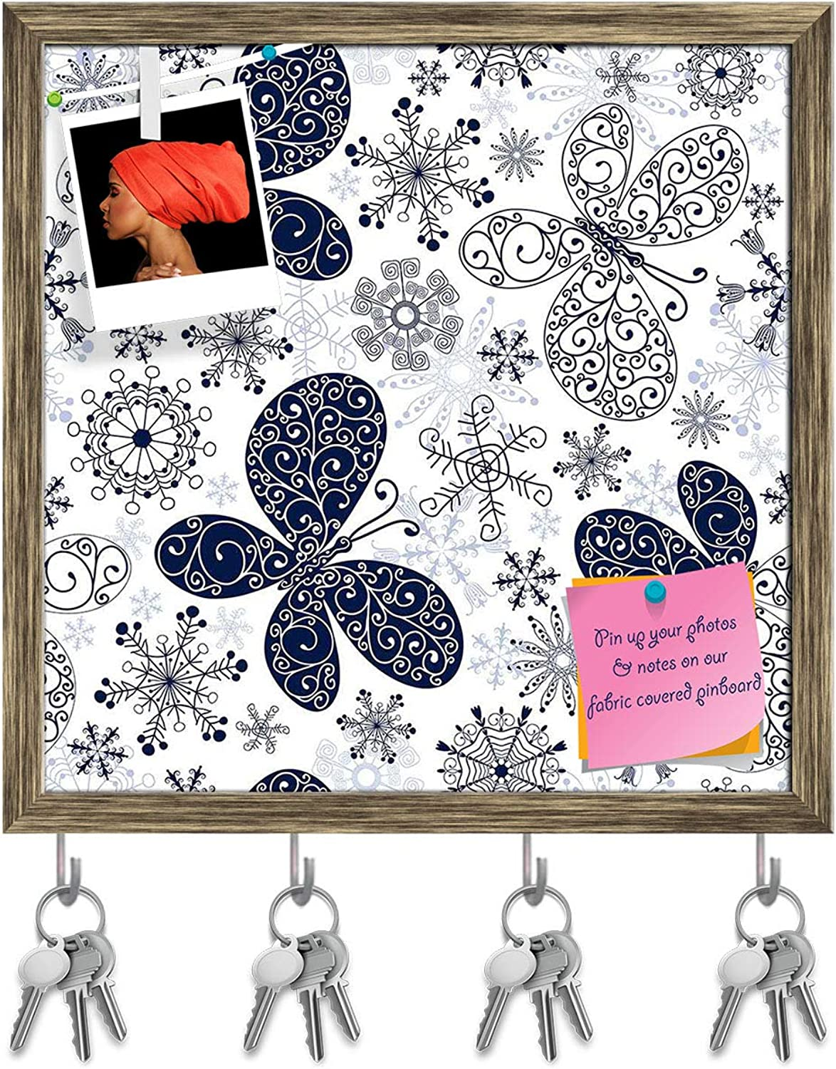 Artzfolio Snowflakes & Butterflies Key Holder Hooks   Notice Pin Board   Antique golden Frame 20 X 20Inch