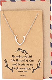 Deer Antlers Country Necklace, Birthday Gifts for Outdoor Lovers Hunter Cowgirl Cowboy Hunter Antelope Pendant Charm - 100% Handmade