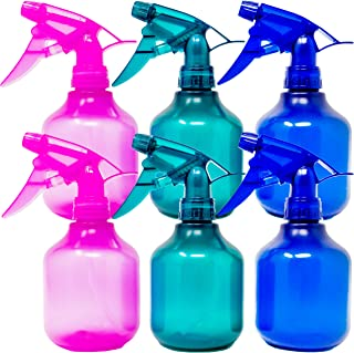 Youngever 6 Pack Empty Plastic Spray Bottles, 8 Ounce Spray Bottles for Hair and Cleaning Solutions, 3 Assorted Colors