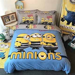 Cenarious Yellow Blue Minions Cartoon Style Duvet Cover Set Cotton Flat Sheet Bed Cover - 4Pcs Bedding Set - Full Flat Sheet Set - 78