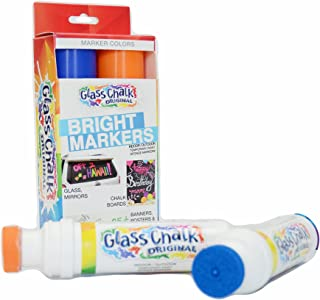 Glass Chalk the Original Patented Indoor/Outdoor Temporary Paint Marker for Auto Windows and Surfaces, Blue and Orange, 2 Piece