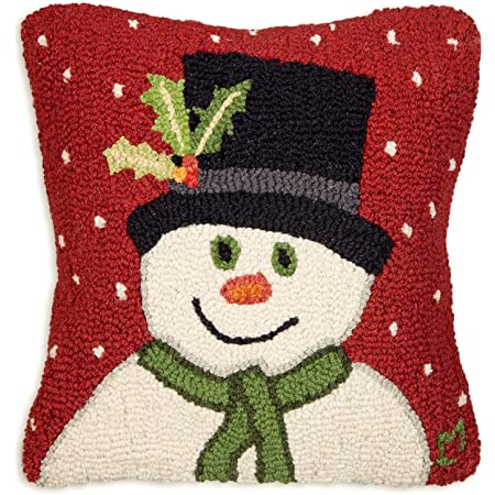 Amazon Com Chandler 4 Corners Artist Designed Snowman With Top Hat Hand Hooked Wool Decorative Throw Pillow 18 X 18 Home Kitchen
