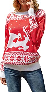 Ofenbuy Womens Ugly Christmas Sweater Oversized Casual Reindeer Crew Neck Xmas Pullover Sweaters Tops
