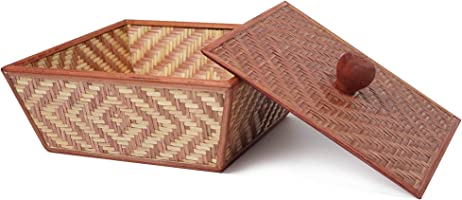 KADAM HAAT Bamboo Fruit Basket with lid (Brown & Natural)
