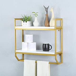 Gerelanl Industrial 19.7 Bathroom Shelves Wall Mounted,2-Tier Rustic Wall Shelf Over Toilet,Floating Shelves with Towel Bar Towel Holder (Gold)