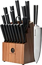 Ginsu Gourmet Chikara Series Forged 19-Piece Japanese Steel Knife Set – Cutlery Set with 420J Stainless Steel Kitchen Knives – Bamboo Finish Block, 07133DS (Renewed)