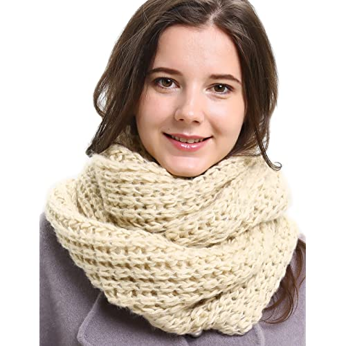273c70b6a Solid Crochet Infinity Scarf Soft Warm Scarves for Women Fall Winter Thick  Circle Loop Scarfs