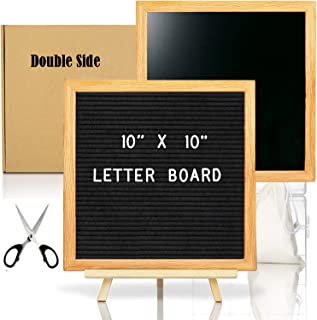 Double Sided Felt Letter Board with Chalkboard -10 x10 Black Changeable Message Sign with Wooden Frame, Letter Number Emoji, Kids School Board Sign, Christmas Baby Shower Home Office Decoration Gift