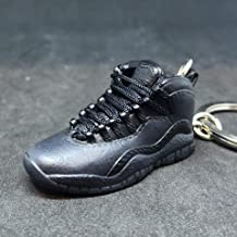 Air Jordan X 10 High Retro Dark Shadow OVO Black OG Sneakers Shoes 3D Keychain 1:6 Figure