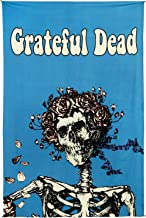 Sunshine Joy Grateful Dead Bertha Skull and Roses Tapestry Tablecloth Wall Art Beach Sheet Huge 60x90 Inches