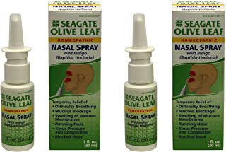 Seagate Products Homeopathic Olive Leaf Nasal Spray 1 oz Bottle, 2 Pack, 1 Fl Oz (Pack of 2)