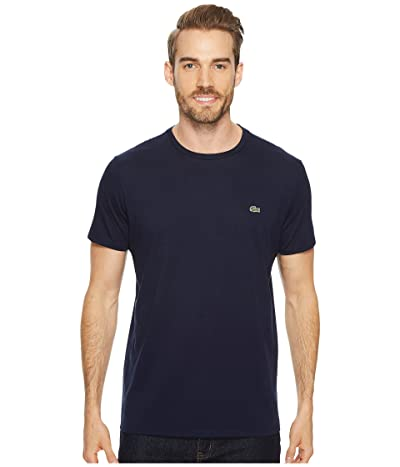 Lacoste Short Sleeve Pima Crew Neck Tee (Navy Blue) Men