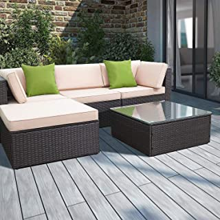 Devoko 5 Pieces Patio Furniture Sets All-Weather Outdoor Sectional Sofa Manual Weaving Wicker Rattan Patio Conversation Set with Cushion and Glass Table (Tea Green Pillow)