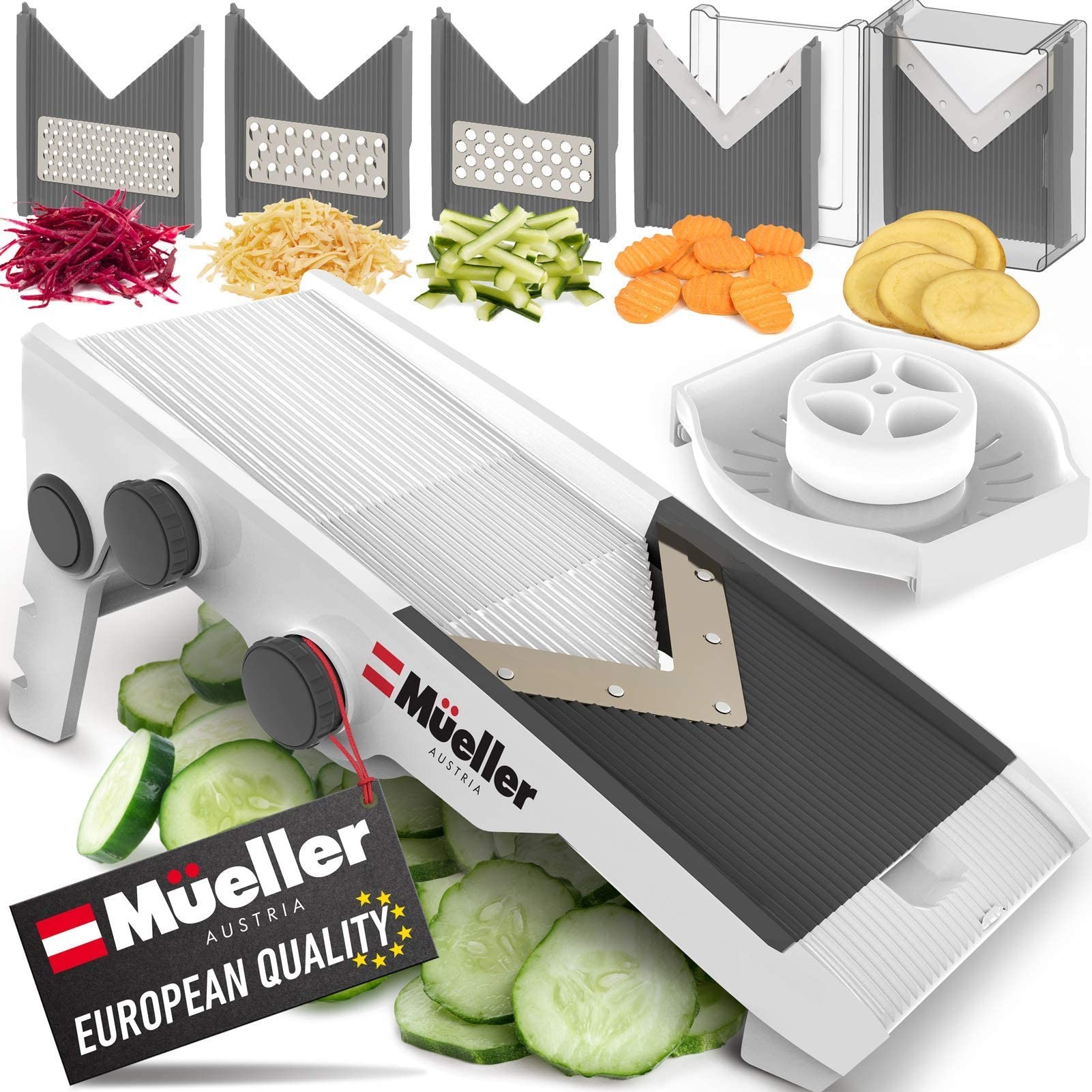 Mueller Austria Multi Blade Adjustable Mandoline Cheese/Vegetable Slicer, Cutter, Shredder with Precise Maximum Adjustability