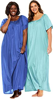 Only Necessities Women's Plus Size 2-Pack Long Silky Gown