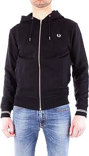 FRED PERRY Mens Hooded Sweatshirt, Black (Black), Large