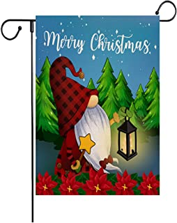 Wencal Merry Christmas Gnome Lamp Garden Flag Tree Flower Poinsettia Double Sided Xmas Outdoor Decoration 12.5 x 18 Inches