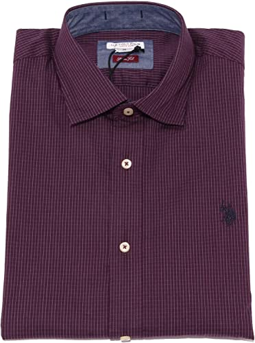 3676K Camicia hombres U.S. POLO ASSN. Slim FIT púrpura Shirt Cotton Man