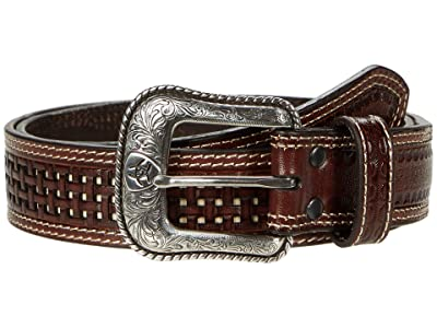 Ariat Basket Weave Two-Tone Belt (Brown/Ivory) Men
