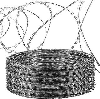 OrangeA Razor Wire Galvanized Barbed Wire Razor Ribbon Barbed Wire 18 inches 250 Feet 5 Coils Per Roll